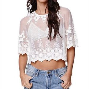 LA Hearts Lace Flutter Sleeve Top by Pacsun